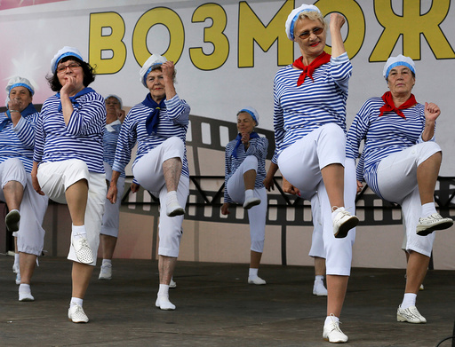 Participants compete during sports, fitness and dancing festival for people aged over 55, in Krasnoyarsk