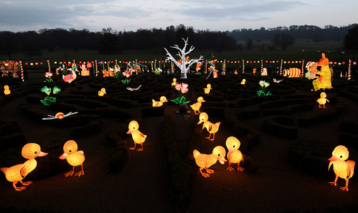 Lanterns are seen in a seasonal light display at Longleat House, during a Chinese Lantern Festival, near Warminster in south-west Britain