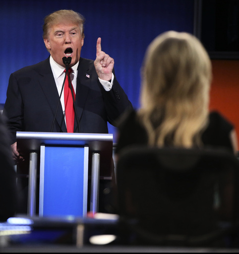 Donald Trump, the real estate mogul and television personality, speaks during the first Republican presidential primary debate.