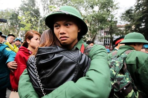 Military recruitment ceremony in Hanoi