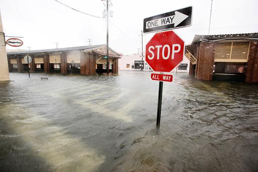 Flood waters submerge the historic city market area as Hurricane Matthew hits Charleston, South Carolina