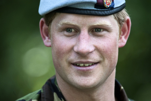 Britain's Prince Harry observes a combat simulation during a visit to the U.S. Military Academy at West Point in New York
