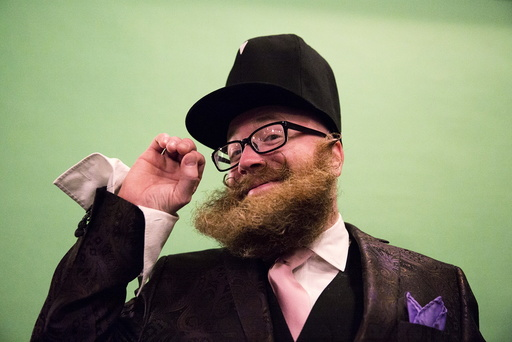Adam Falandys from Massachusetts poses for a photograph at the 2015 Just For Men National Beard & Moustache Championships at the Kings Theater in the Brooklyn borough of New York