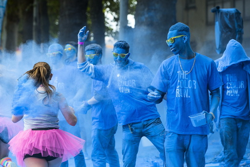 People take part in The Color Run in Brussels