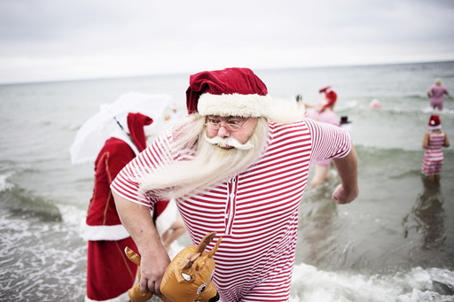 Participants of the World Congress of Santa Clauses 2015 take part in the annual swim at Bellevue beach, north of Copenhagen