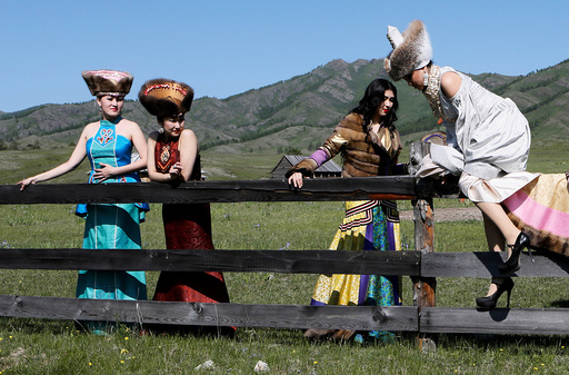 Models take part in rehearsal for Tun-Pairam traditional holiday celebration at museum preserve in Khakassia republic