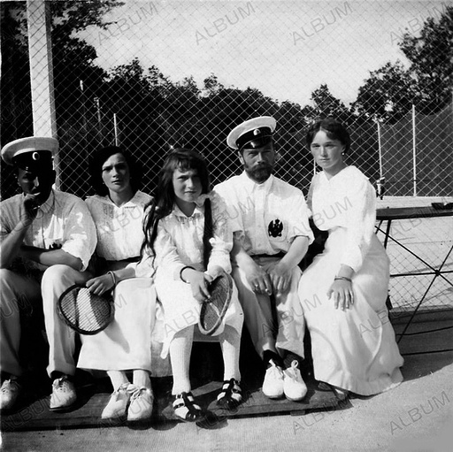 Nicholas II of Russia with daughters on the tennis court.