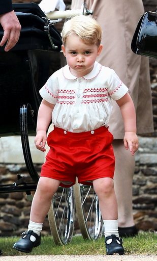 Prince George of Cambridge leaves the Church of St Mary Magdalene on the Sandringham Estate for the Christening of Princess Charlotte of Cambridge