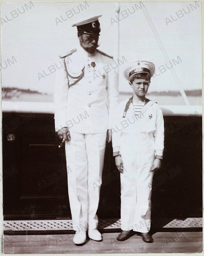 Emperor Nicholas II and Tsarevich Alexei of Russia. Imperial Yacht Standart.