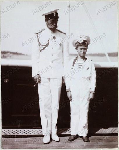 Emperor Nicholas II and Tsarevich Alexei of Russia. Imperial Yacht Standart.