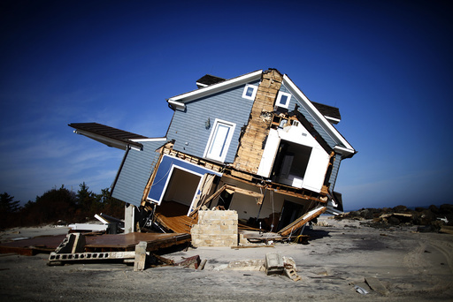 A home that was damaged by Hurricane Sandy is seen in Mantoloking