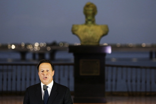 Panama President Juan Carlos Varela delivers a speech to the nation after a meeting with various ambassadors to Panama at the Foreign Affairs building in Panama