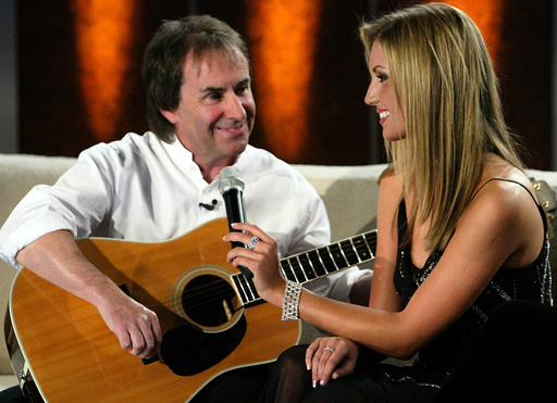 IRELAND'S POP SINGER CHRIS DE BURGH AND HIS DAUGHTER ROSANNA PERFORM A SONG DURING GERMAN TELEVISION SHOW 'BET IT..?' IN BREMEN