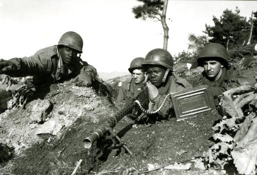 Korea-Krieg, US-MG-Stellung, Kämpfe am Chongchon-Fluß 1950 - Korean War, US machine gun position -