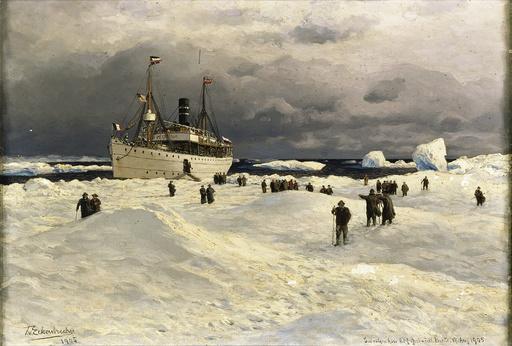Dampfer Oihonna / Gem.v.Eckenbrecher - T.Eckenbrecher, The Oihonna in Ice, 1905 -
