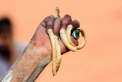 A hand of a Sadhu or a Hindu holy man is seen after taking a dip in the waters of Shipra river at Simhastha Kumbh Mela in Ujjain