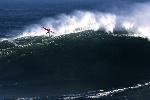 Big wave surfing in Nazare
