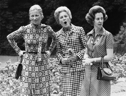 Pat Nixon with Queen Fabiola and Princess Paola, Royal Palace gardens, Brussels, June 1974.