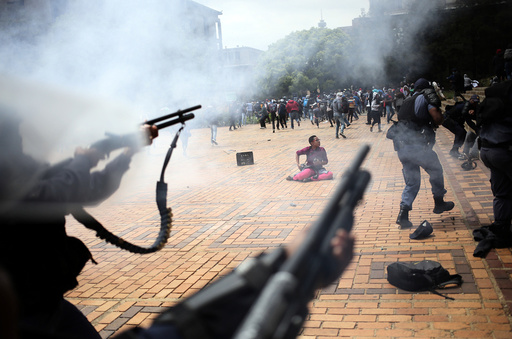 A student is seen during clashes with South African police at Johannesburg's University of the Witwatersrand, South Africa