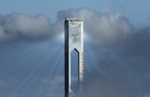 A tower belonging to the Abengoa Solar plant is seen at
