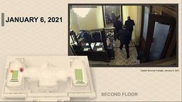 En av videoene som ble lagt fram i Senatet, viser Mike Pence og andre bli evakuert til et trygt sted. Foto: Senate Television via AP / NTB