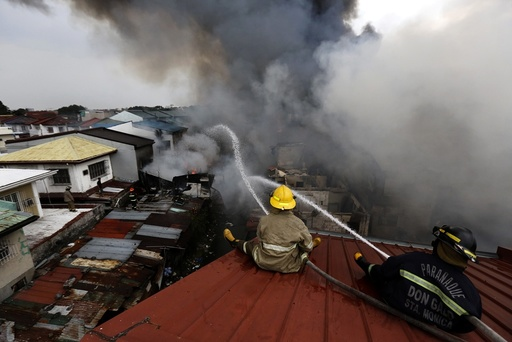 A blaze at a residential area in Las Pinas city