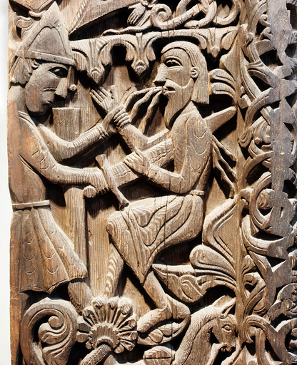 - Detail of a carving from a stave church portal illustrating the story of Sigurd. Sigurd kills Regin. Country of Origin: Norway. Date/Period: 12th C. Place of Origin: Hylestad stave church, Setesdal -
