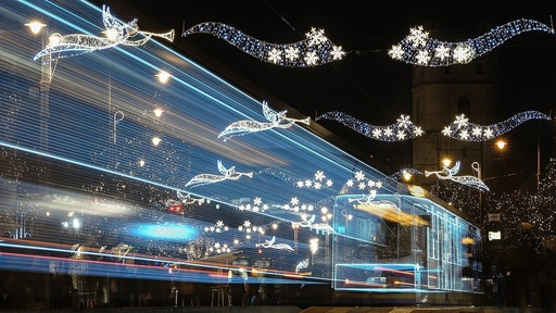 Christmas tram in Hungary