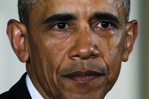 U.S. President Obama sheds tear while delivering statement on administration efforts to reduce gun violence at the White House in Washington