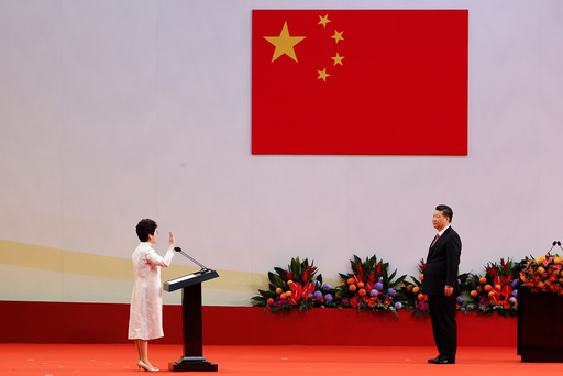 Hong Kong Chief Executive Carrie Lam takes her oath in front of Chinese President Xi Jinping in Hong Kong