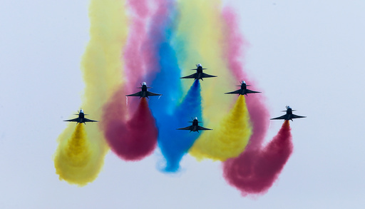 China's J-10 fighter jets perform during an air show, the 11th China International Aviation and Aerospace Exhibition in Zhuhai
