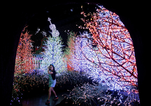 A woman tours a Christmas attraction featuring a display of more than 800,000 light bulbs in Universal Studios Singapore