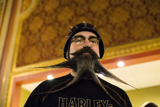 John Morrow from Carlisle, Pennsylvania, poses for a photograph at the 2015 Just For Men National Beard & Moustache Championships at the Kings Theater in the Brooklyn borough of New York