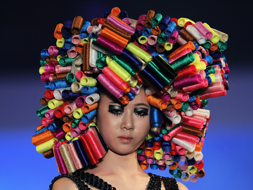 A model presents a creation during the 2012 Korea Hair Collection in Seoul