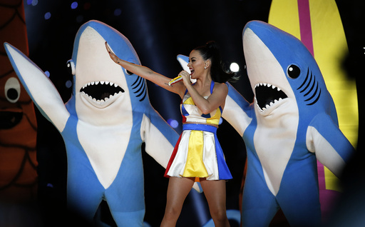 Katy Perry performs during the halftime show at the NFL Super Bowl XLIX football game between the Seattle Seahawks and the New England Patriots in Glendale