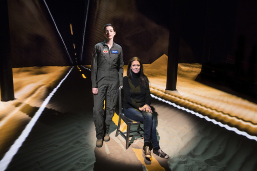 Anne Hathaway and Julie Taymor, on the set of the play