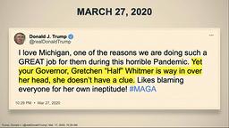 Trump støttet demonstrantene i Michigan i fjor på Twitter. Denne tweeten, sammen med flere videoer og andre meldinger, ble vist fram i Senatet torsdag. Foto: Senate Television via AP / NTB