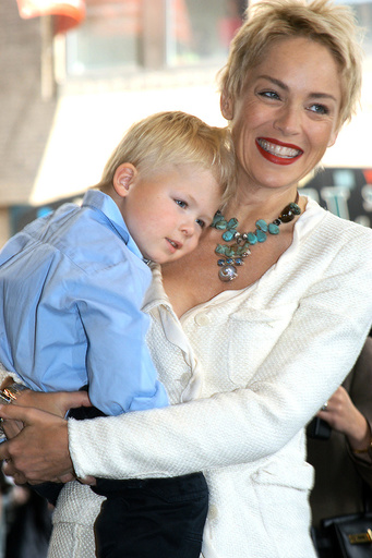 Actress Sharon Stone and son Roan Joseph Bronstein arrive at the 'Concerned Parents For [AIDS] Resea..