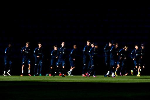 Trening fotball landslaget.