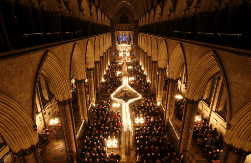 Salisbury Cathedral celebrates the beginning of Advent with a candle lit service and procession,