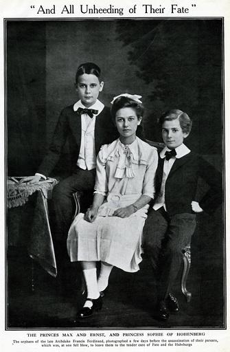 Max, Ernst and Sopie von Hohenberg of Austria