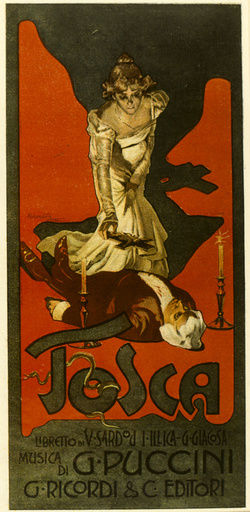 Poster design, Tosca, opera by Puccini