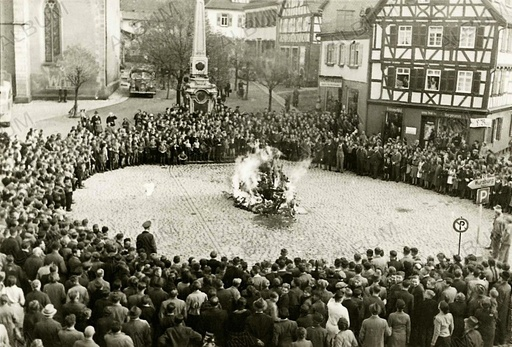 The furnishings and ritual objects from the synagogue in Mosbach on the town square on 10 November 1938.