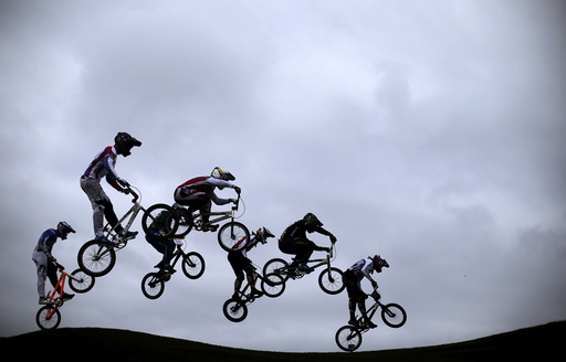 Competitors take part in the International BMX Cycling Challenge at the Rio 2016 Olympic Games BMX cycling track which is part of the X-Park at the Deodoro Sports Complex in Rio de Janeiro