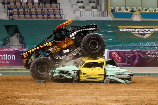 Monster truck performs during Monster Jam show which was organized by General Entertainment Authority, in Riyadh