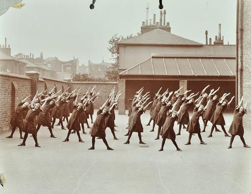 Exercise class, Buckingham Street Girls School, Islington, London, 1906. Artist: Unknown.