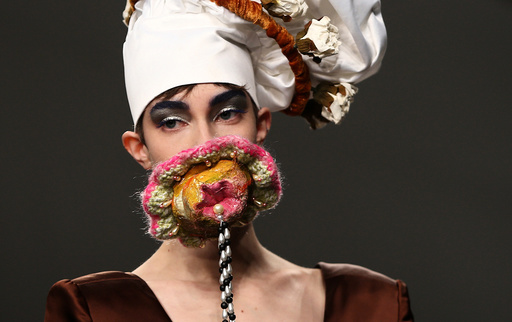 A model presents a creation at the Central St Martin's catwalk show during London Fashion Week in London