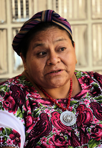 Guatemalan Nobel Peace Prize Laureate Menchu Tum speaks during a news conference at her foundation in Guatemala City