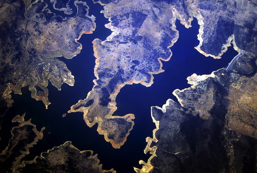 Reservoir can be seen in this aerial view taken in the drought-affected western region of New South Wales