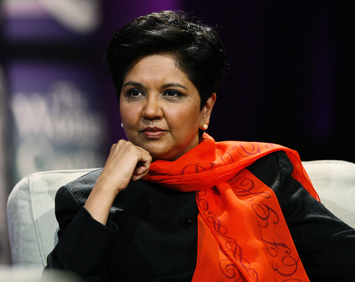 Indra Nooyi, Chairman and CEO of PepsiCo, takes part in a conversation on leadership, legacy and life at the Women's Conference 2008 in Long Beach